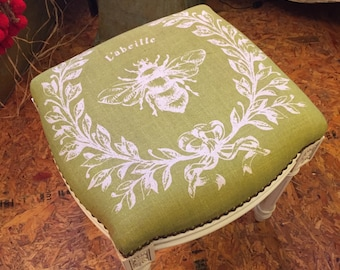Small Vintage Inspired Stool with Print
