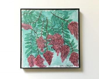96/100: Crepe Myrtles - original framed watercolor illustration