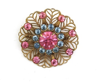 Vintage 1950s Blue Topaz and and Pink Rhinestone Open Metalwork Pin