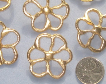 "Pierced Realistic FLOWER Set 6 Vintage New GOLD Metal buttons 41mm 1 & 5/8"" LARGE"
