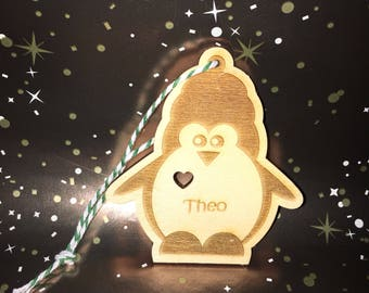 Personalised penguin, wooden engraved Christmas tree decoration, Personlised Christmas