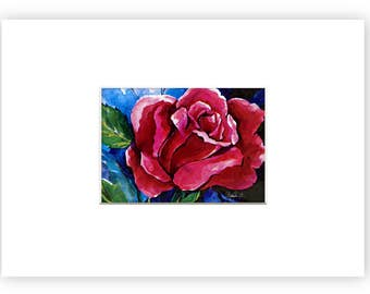 """Rose, Flower, floral art in mat, Abstract art, Giclee archival print """"Nancy's Rose"""" by Kathy Morton Stanion EBSQ"""