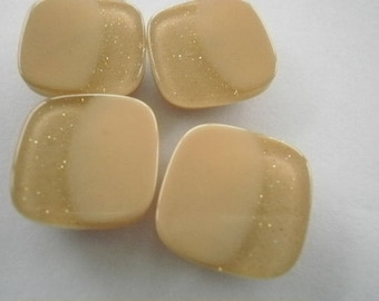 Set of 4 buttons plastic square shape, glittery, beige color with a side size 16 mm
