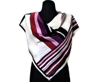 Vintage 70s Satin Scarf, Purple Pink Black White Striped Scarf, womens Accessories, Gift for Mom, Gift for Grandma