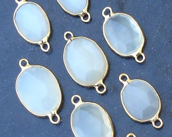 925 Sterling Silver, WHITE MOONSTONE, 24K Gold Plated Connector,ONE Piece of 12-15mm