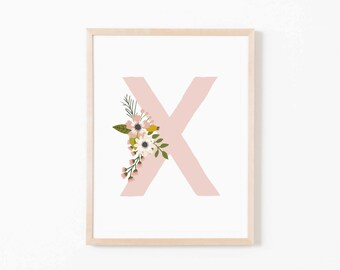 Blush Bloom X Nursery Art. Nursery Wall Art. Nursery Prints. Nursery Decor. Girl Wall Art. Personalized Wall Art. Monogram Art. Floral Art.
