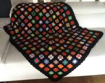 Granny squares vintage black GYPSY Plaid