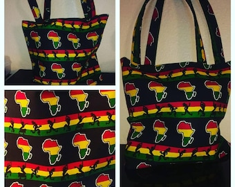 STUDIO SISTER2SISTER African Print Tote Bag, Foldable, Shopping, Laptop, Market, Grocery Bag.