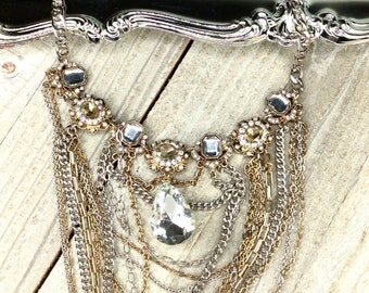 Necklace for Women, Womens Necklace, Necklace, Vintage Jewelry , Vintage Chain Jewelry, Pearls, Chain Necklace , Rhinestone, Vintage - V