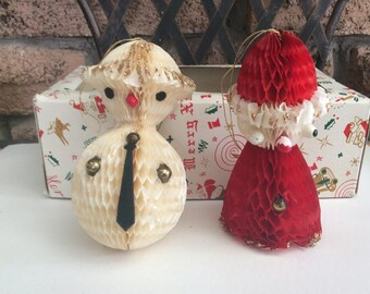 Vintage Honeycomb Santa and Snowman Hanging Ornaments