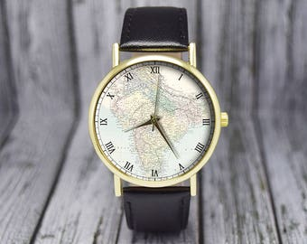 Asian map watch etsy vintage india map world map old cartography leather watch ladies watch gumiabroncs Images