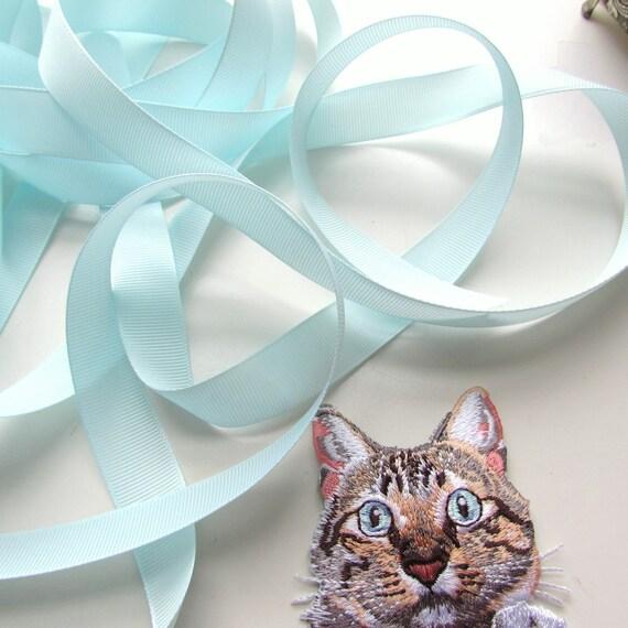 5 yds light blue ribbon 18 mm, Pale blue grosgrain ribbon, Baby blue ribbon wholesale, Blue grosgrain ribbon in bulk. UK Seller