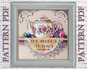 cross stitch,teapot for tea,kettle with flowers,teapot embroidery,kettle circuit, teapot pattern, kitchen decor