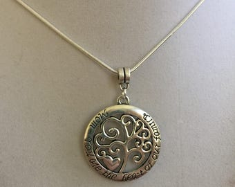 Mothers Day Tree of Life Silver Necklace