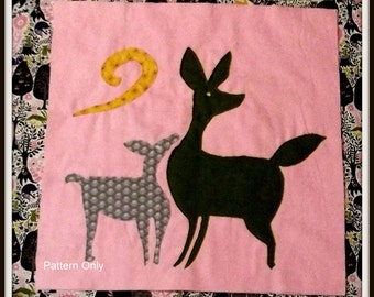 "Woodland Animal Quilt Block Pattern ""Deer"""