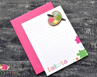Painter's Palette Personalized Stationery · A2 FLAT · Pink Green Yellow · Art Party Thank You Notes | Painting | Artist | Little Picasso