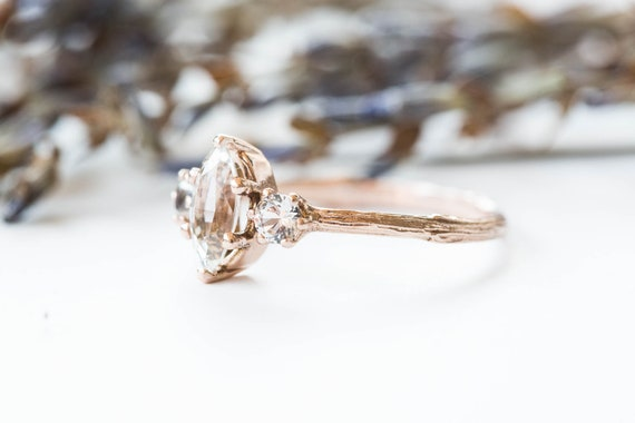 Marquise sapphire twig engagement ring, three stone engagement ring, white sapphire ring, 14k gold ring, marquise twig ring, twig engagement
