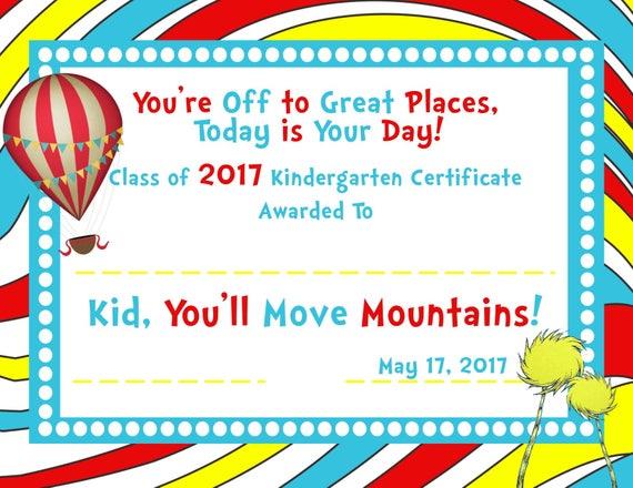 Dr Seuss Certificate Printable