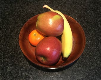 Handmade Vintage Dark Wooden Bowl medium size from the 1960s
