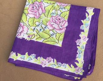 Vintage Handkerchief, Vintage 60s' Hankie, Cotton Handkerchief, Floral, PRETTY Colorful Floral, Purple, Green, Lavender, Retro 50's Style