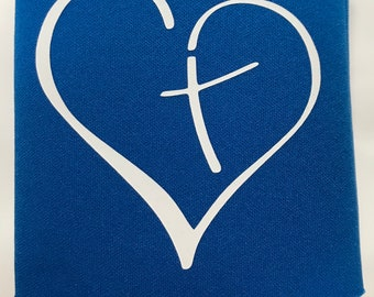 Royal Blue KOOZIE®  with a white heart and cross, faith, Jesus, Church, love, everyday use, beverage holder