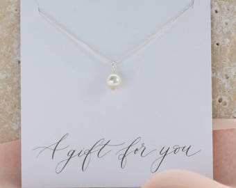 classic pearl drop pendant, swarovski pearl wedding necklace, bridesmaids necklace, bridal pendant, bridal jewellery, bridesmaid gift