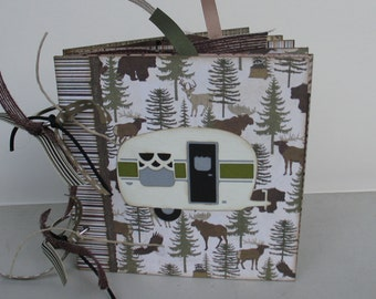 Outdoor Camping Hunting Fishing Scrapbook Photo Album Chipboard 6x6 Memory Book