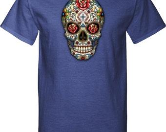 Men's Skull Shirt Sugar Skull with Roses Tall Tee T-Shirt WS-16553-PC61T