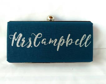 Monogrammed navy minaudiere clutch/ Something Blue bridal purse / bridal shower gift purse /Personalized clutch/Gift for her/Summer wedding
