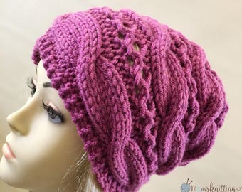 PDF Pattern | Knit Braided Cable Unisex Hat / Cable Hat/ Hipster Beanie / Sizes from Teen to X-large Adult