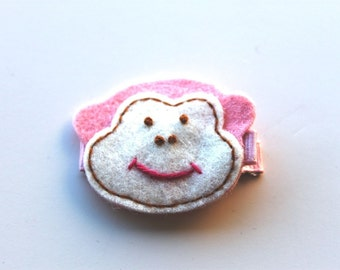 Felt Monkey Applique on Ribbon Hair Clip