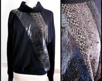 Christine Albers Sweater / Vintage Snake skin Sweater /70s Snakeskin Sweater / fits S-M / Snakeskin Vintage Top / Snakeskin Vintage Sweater