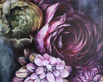 Painting on canvas Wall Art for bedroom Original Acrylic Flowers Handmade Green Peony Pink Roses Home Decor awesome Gift for mom