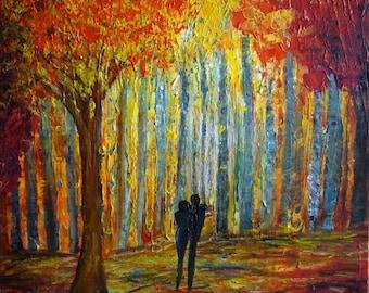 ROMANCE Abstract Modern Fall Autumn Painting Palette Impasto Textured Art on Canvas Ready to Ship