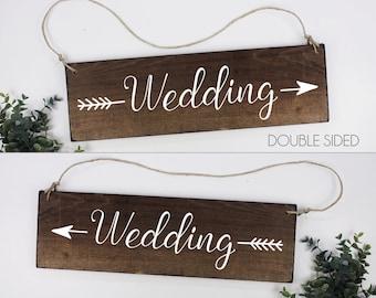 FREE SHIPPING Wedding Arrow Sign Wedding Directional Sign Rustic Wedding Direction Signs Ceremony Directional Sign Wedding Direction Sign