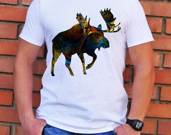 Moose Tee - Art T-shirt - Fashion T-shirt - White shirt - Printed shirt - Men's T-shirt - Gift