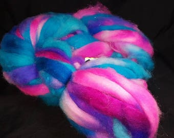 Alpaca cormo wool firestar roving hand dyed wham neon pink and blue