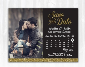 Gold Glitter Save The Date Magnet or Card DIY PRINTABLE Digital File or Print (extra) Glitter Calendar Save The Date Photo Save The Date