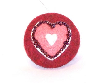 Christmas Ornament - Needle Felted - Pocket Watch Shape - Pink Heart on Red Ornament - Felt Christmas - Gift Item - Beaded Ornament