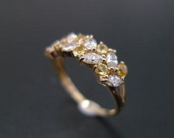 Marquise Diamond and Yellow Sapphire Wedding Ring in 14K Yellow Gold, Marquise Ring, Marquise Wedding Band, Diamond Wedding Wedding. Jewelry