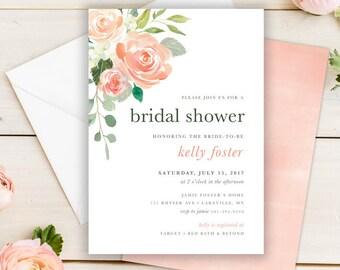 Rustic Floral Bridal Shower Invitation Set PRINTABLE Recipe Card Peach Blush Rose Watercolor Floral Garden Bridal Shower Invitation Suite