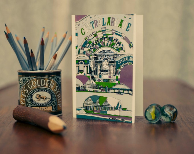 Art / Greetings Card - Central Arcade, Sage & Tyne Bridge, Gateshead and Newcastle.