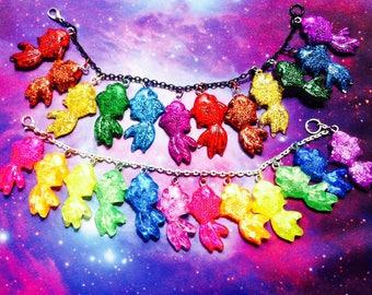 Rainbow Fish Charm Bracelet, Fairy Kei, Kawaii, Pastel Goth