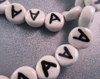 "Ceramic Alphabet Letter "" A "" Beads 17pcs"