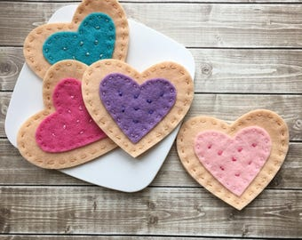 felt cookies, play food tea party cookies, princess party favors, felt frosted play cookies, gifts for girls