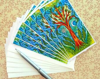 Hand Made Stationery Celestial Holiday Correspondence Notes Set of Six
