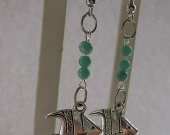 Green glass beads with silver fish accents....to cute!