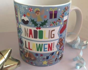 Cwpan Nadolig Llawen! (Glas golau) - Fun Welsh 'Merry Christmas!' Mug (Light Blue)