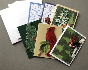 Handmade Fabric Penguin Snow Christmas Gift Enclosure Cards Set of 6