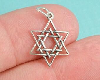 Sterling Silver Interlaced Star Of David Bracelet Charm, Pendant, Jewelry, .925 Silver, DIY Bracelet, (C094)